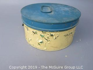 Vintage Stenciled Cake Tin Carrier; with hinged lid; marked Fries