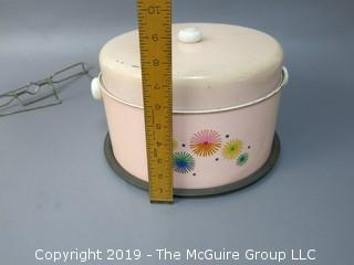 Vintage Mid-Century Stenciled Cake Tin Carrier