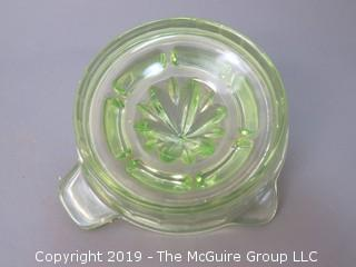 Vaseline Depression Glass Juicer/Reamer