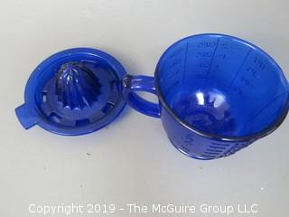 Blue Glass Juicer/Reamer with Matching Measuring Cup
