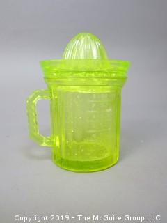 Vaseline Depression Glass Juicer/Reamer with Matching Measuring Cup