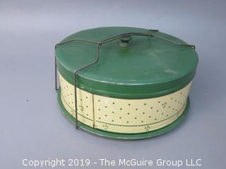 Vintage Cake Tin Stenciled Carrier