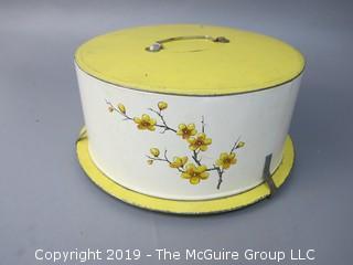 Vintage Stenciled Cake Tin Carrier