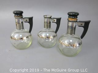 (3) Individual Glass Coffee Pots; 1 missing lid