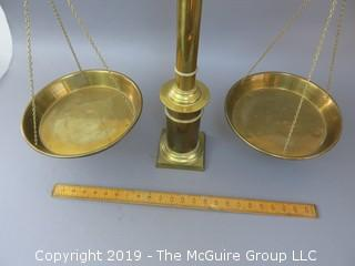"24"" tall Old Brass Scale; marked ""N & C""; ""#5"", ""10kg"""