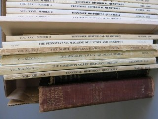 "Collection of books including Historical Quarterly's from W. Tennessee, E. Tennessee, Pennsylvania, North Carolina, Mississippi, and Virginia.  Also includes ""Dulany's History of Maryland, 1632 - 1882. See multiple photos"