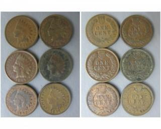 (6) 1897 Indian Head Cents