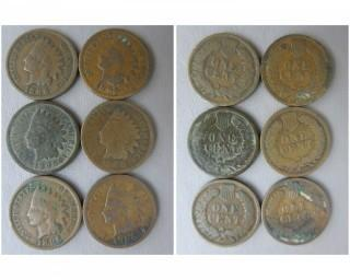 (6) 1896 Indian Head Cents