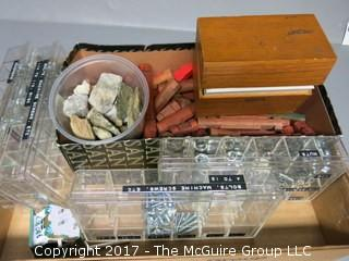 Collection including household Nuts and Bolts, Lincoln Logs and Minerals