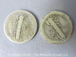 1942 and 1923 Mercury Dimes