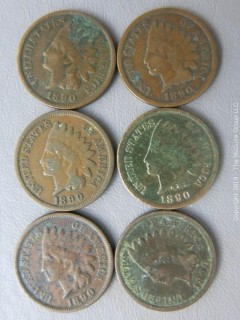 (6) 1890 Indian Head Cents