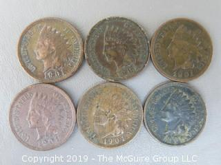 (6) 1901 Indian Head Cents
