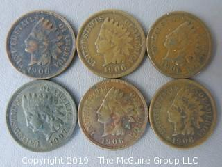 (6) 1906 Indian Head Cents