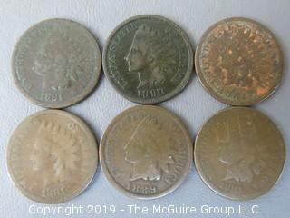 (4) 1881; (1) 1889; (1) 1890 Indian Head Cents