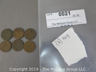 (6) 1907 Indian Head Cents