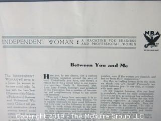 "Magazine: 1934 ""Independent Woman"" (note the NRA Logo)"
