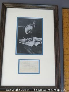 Ernest Hemingway Autograph (on reverse of plane ticket); with picture, framed under glass