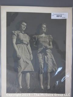 Large Format B&W Photo of two Young Women