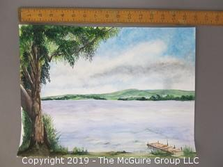"Original Watercolor on artists board; ""Chautauqua Lake""; Carol Hopper '05"