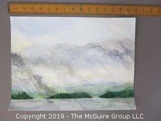 "Original Watercolor on artists board; ""October Storm; Chautauqua Lake""; Carol Hopper '04"