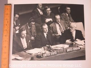 "Renowned American photojournalist Arthur Rickerby (1921-1972) B&W photo of Henry Cabot Lodge, Andre Vishinsky and M. Nuttell reacting to President Eisenhower's ""Atoms-For-Peace"" Plan at the UN"