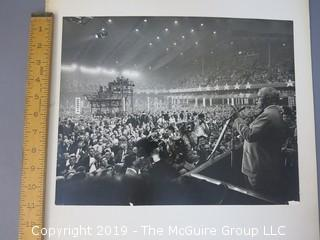 Renowned American photojournalist Arthur Rickerby (1921-1972) B&W photo of President Truman addressing Political Convention