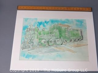 "Unframed watercolor, ""Locomotive"" by Joan Linsley"