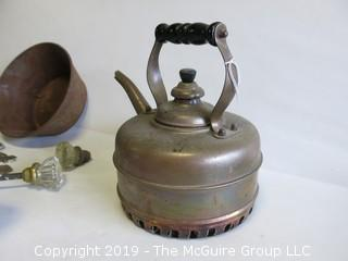 Collection including vintage flashlight, tea kettle and door hardware