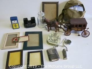 Collection including hand carved horse and coach; frames and lighters