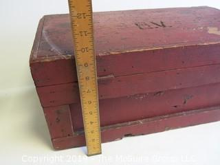 Vintage handmade wooden tool box with locking hasp and end handles