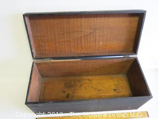 Vintage Handmade wooden tool box with hinged cover and locking hasp