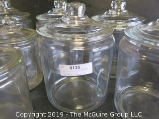(6) Assorted Clear Glass Canisters with tops