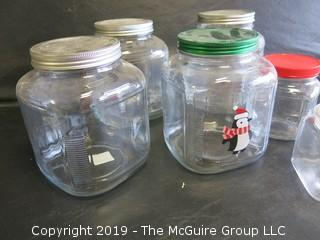 (6) Assorted Clear Glass Canisters of various Shapes/Sizes