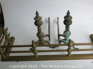 "Pair of Andirons and brass fireplace fender (14 x 40 x 10""T"