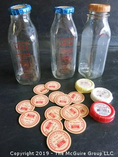 (2) Kennebunkport, ME quart milk bottles and numerous bottle caps
