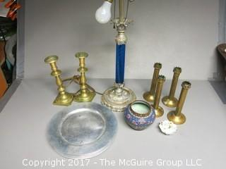 Collection including table lamp, assorted candlesticks, cloisonne enameled vase and a set of 8 Wendell August Forge chargers