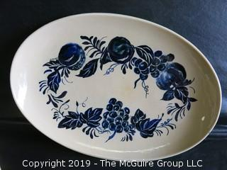 """Collection of handmade art pottery including handpainted oval platter signed on base; """"High Fire Stoneware""""; 1964"""