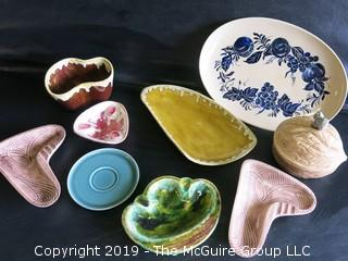"Collection of handmade art pottery including handpainted oval platter signed on base; ""High Fire Stoneware""; 1964"