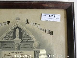 Framed Masonic Certificate; outside dimensions 151/2 x 18 1/2""