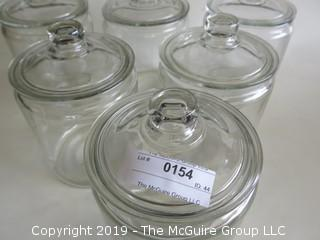 (6) Clear Glass Canisters with lids