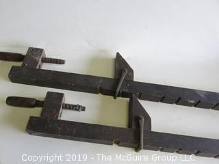"""Pair of 36"""" Early Wooden clamps (missing part that screws into handles)"""