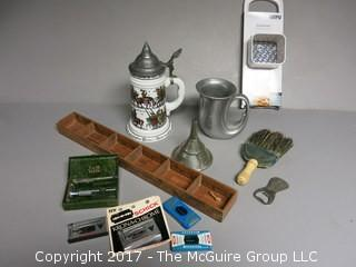 Collection including vintage straight razor and blades, wooden wall handing shelf, stein made in West Germany, pewter mug and primitive brush