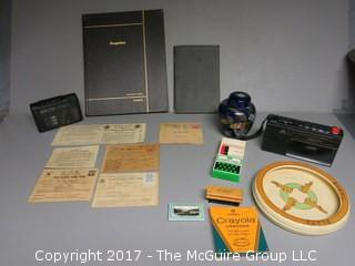 Collection including M-C Esquire bound magazine, baby plate, WWII ration books, battery operated electronics, etc.