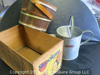 Collection includes 1 bushel wooden Snookum Crate, galvanized watering can (missing spout) and wooden bucket