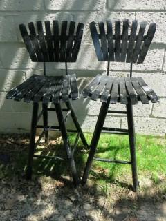 Pair of M-C swivel bar stools