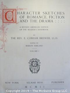 "Book: ""Character Sketches of Romance Fiction and the Drama""; by Rev. E. Cobham Brewer, LL.D.; Vol I and II; ; published by Selmar Hess; 1902; leather bound"
