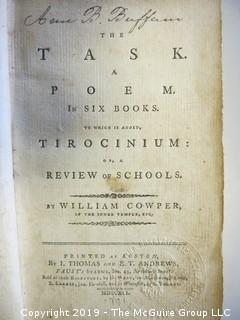 """(4) Books: """"Poems by William Cowper, Esquire""""; """"The Task: A Poem in Six Books.To Which is Added Tirocinium: A Review of Schools by William Cowper; 1791"""" (Boston); """"Child at Home"""" by John S. C. Abbott; published by the American Tract Society; 1833; and """"The New Testament""""; published by The American Bible Society , 1861"""