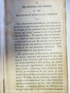 "(3) Leather Bound Books: ""A Collection of Hymns For the Use of the Methodist Episcopal Church; published by T. Mason and G. Lane, New York; 1838; ""The Complete History of Joseph and His Brethren""; Londom; Printed and Sold by Mary Hinde"