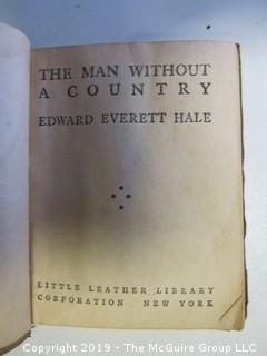 "(3) Books: ""The Man Without a Country"" by Edward Everett Hale, Little Leather Library; New York; New Testament, 1865; ""The Everlasting Gospel; published by Sanborn & Carter, Portland, ME., 1843"
