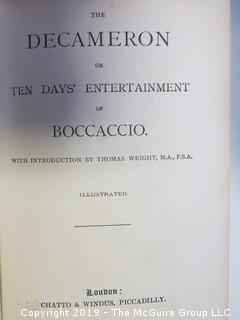 "Book: ""The Decameron or Ten Days of Entertainment of Boccaccio; Illustrated"", published by Chatto and Windus, London"